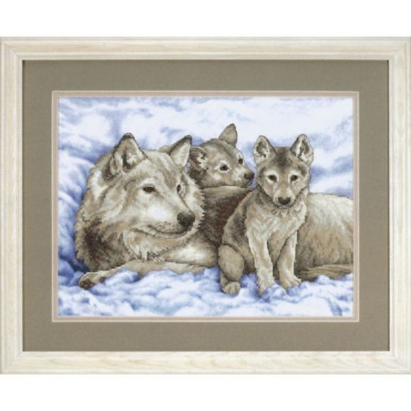 Mother Wolf And Pups Stamped Cross Stitch Kit