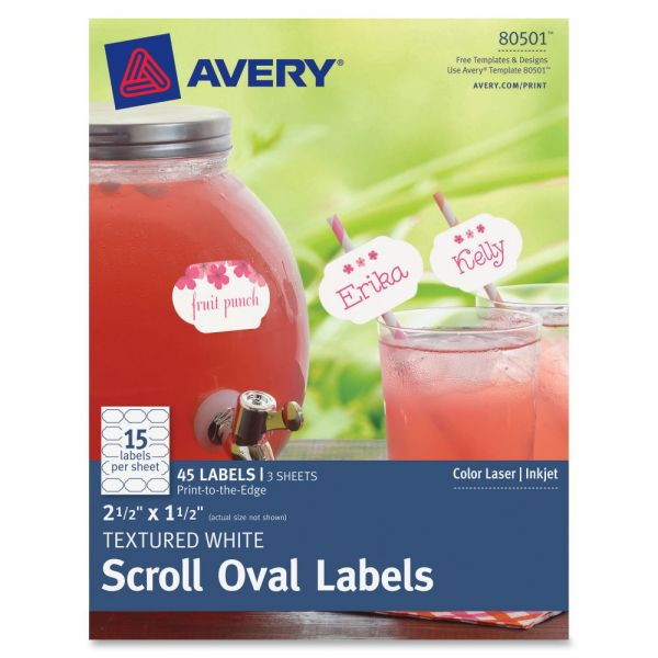 Avery Textured Scroll Oval Labels