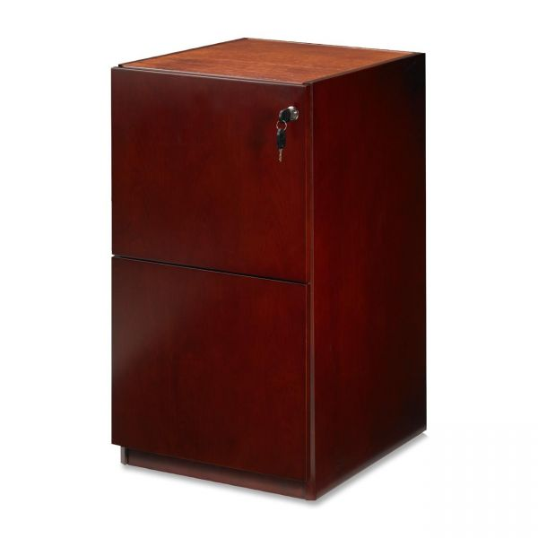 Mayline Luminary Series Wood Veneer File/File Pedestal, 15w x 19d x 27-3/4h, Cherry