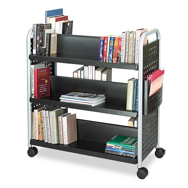 Safco Scoot Book Cart, Six-Shelf, 41-1/4w x 17-3/4d x 41-1/4h, Black