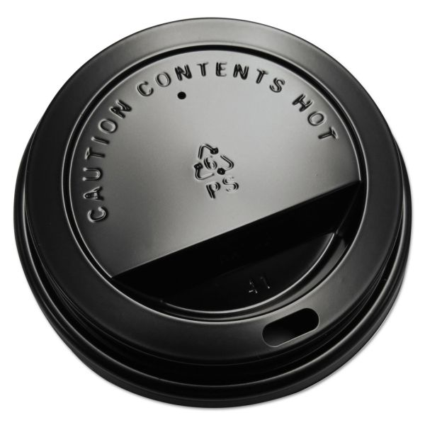 GEN Hot Cup Dome Lids, Fits 10-20oz Cups, Black, 100/Sleeve, 10 Sleeves/Carton