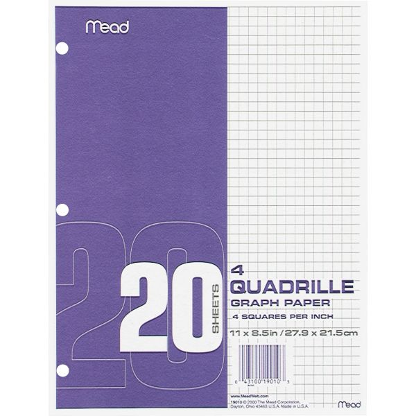 Mead 3-Hole Punched Quadrille Graph Paper