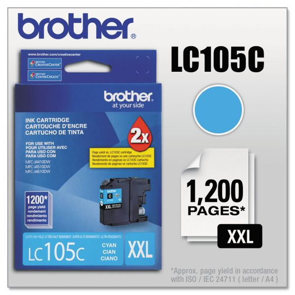 Brother LC105C Cyan Super High Yield Ink Cartridge