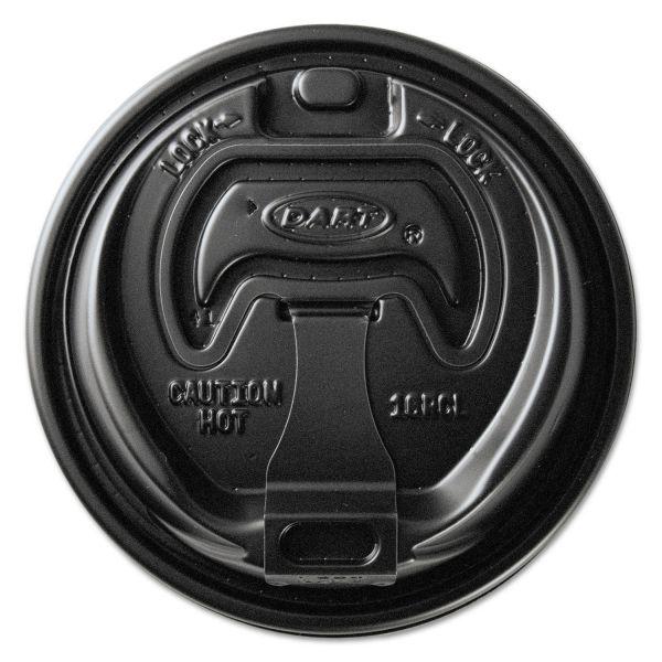 Dart Optima Reclosable Lids for Paper Hot Cups for 10-24 oz Cups, Black, 1000/Carton