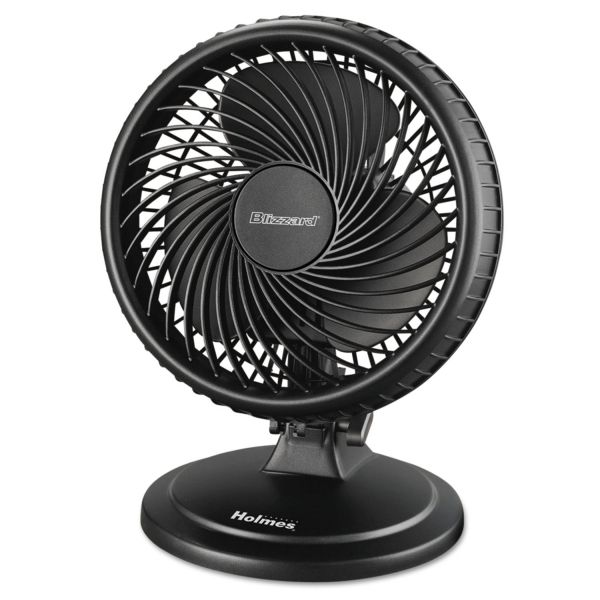 """Holmes Lil' Blizzard 7"""" Two-Speed Oscillating Personal Table Fan, Plastic, Black"""