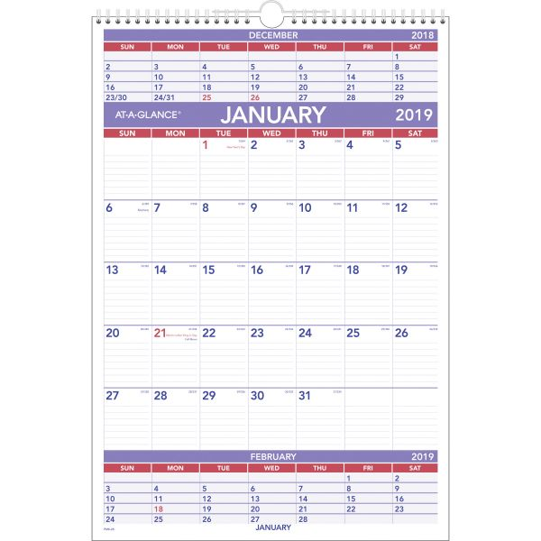 AT-A-GLANCE Three-Month Wall Calendar, 15 1/2 x 22 3/4, 2019