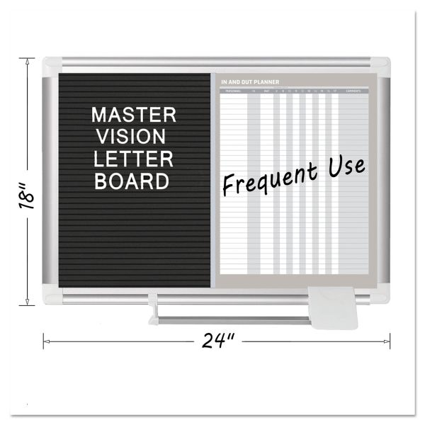 MasterVision In-Out and Notice Board, 24x18, Silver Frame