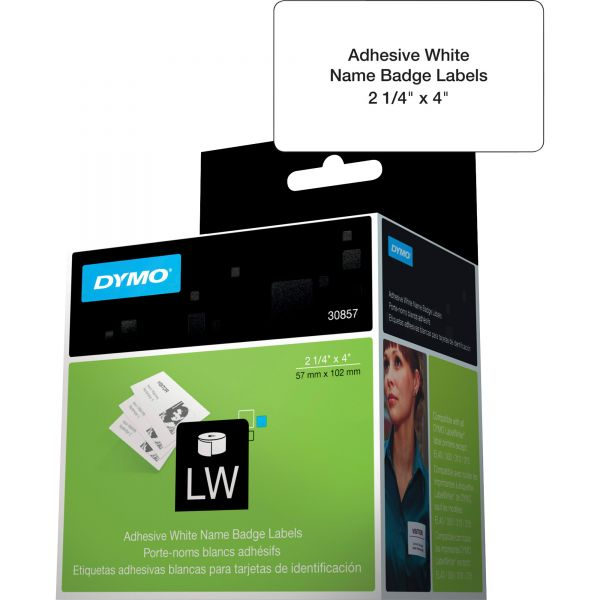 DYMO Self-Adhesive Name Badge Labels, 2-1/4 x 4, White, 250/Box