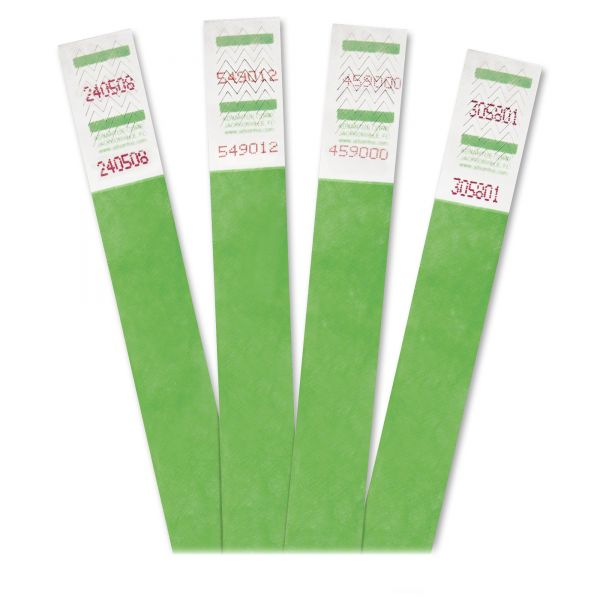 Advantus Crowd Management Wristbands, Sequentially Numbered, Green, 500 Per Pack