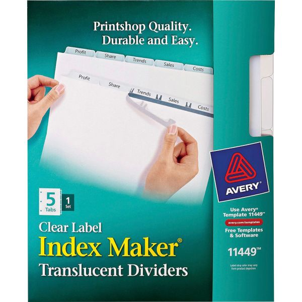 Avery Index Maker Print & Apply Clear Label Plastic Dividers, 5-Tab, Clear Tab, Letter, 1 Set