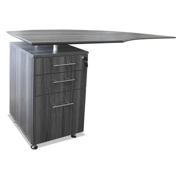 Mayline Medina Series Laminate Curved Left Return, 63w x 24d x 29 1/2h, Gray Steel