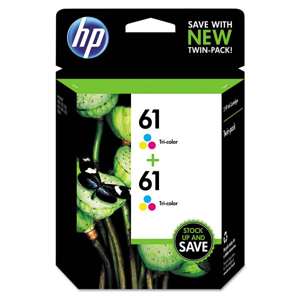 HP 61 Twin Pack Tri-Color Ink Cartridges (CZ074FN)