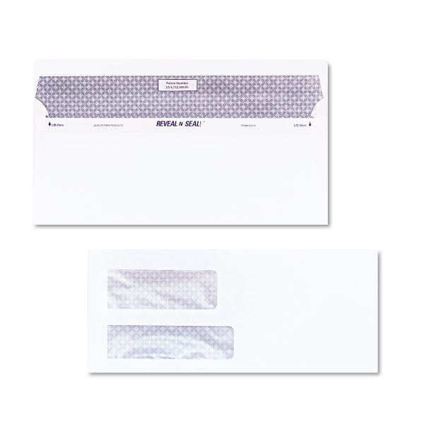 Quality Park Reveal-n-Seal Double Window Envelopes