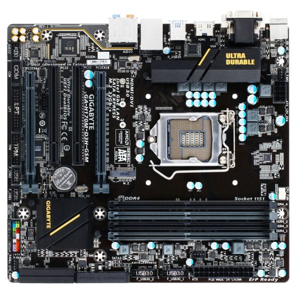 Gigabyte Ultra Durable GA-H170M-D3H-GSM Desktop Motherboard - Intel Chipset - Socket H4 LGA-1151