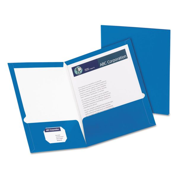 Oxford Blue Laminated Two Pocket Folders