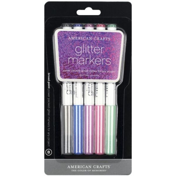 Glitter Markers Broad Point 5/Pkg