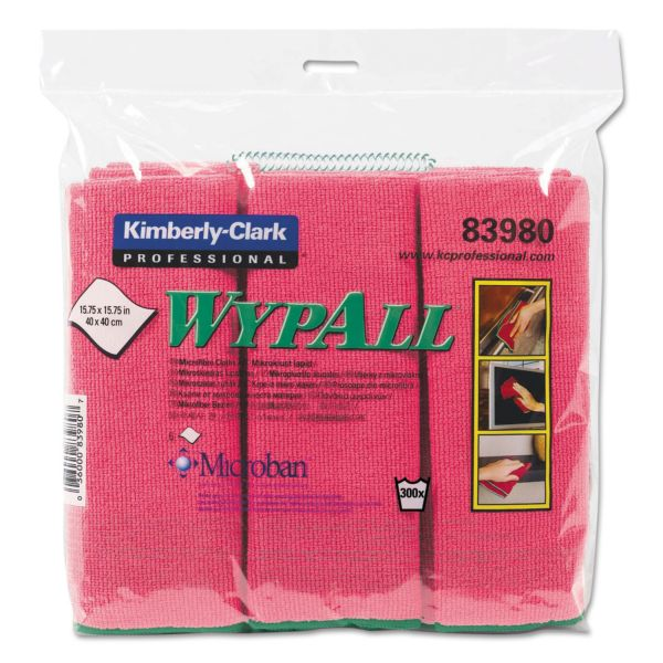 WypAll* Cloths with Microban, Microfiber, 15 3/4 x 15 3/4, Red, 6/PK, 4 PK/CT