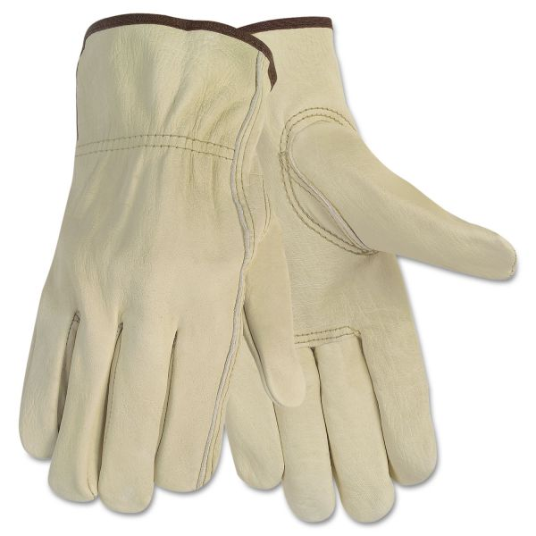 MCR Safety Economy Leather Driver Gloves, Large, Beige, Pair