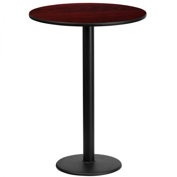 Flash Furniture 24'' Round Mahogany Laminate Table Top with 18'' Round Bar Height Table Base