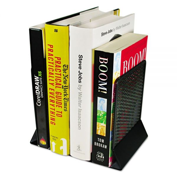 Artistic Urban Collection Punched Metal Bookends, 6 1/2 x 6 1/2 x 5 1/2, Black