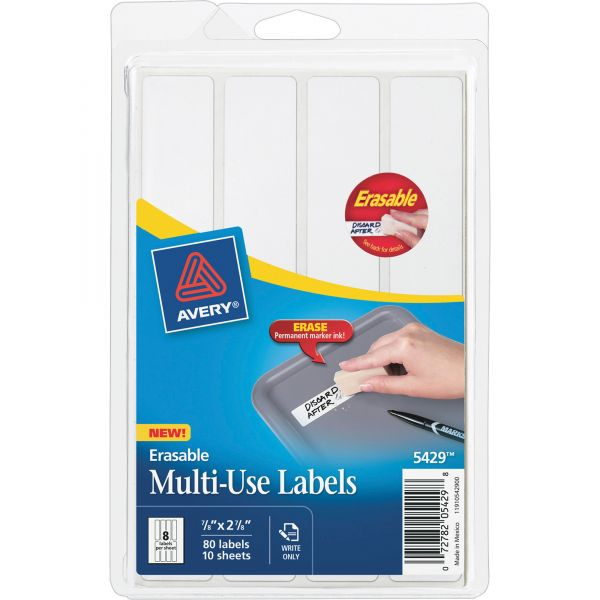 Avery Erasable ID Labels, 7/8 x 2-7/8, White, 80/Pack