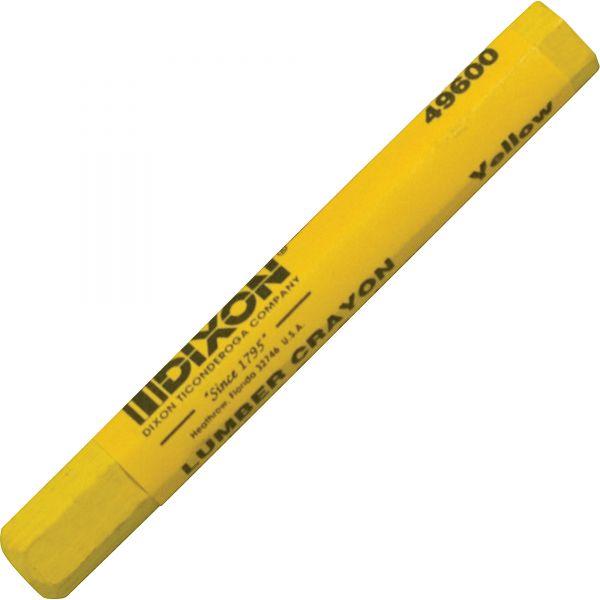 Dixon Lumber Crayon, Permanent, Yellow, Dozen