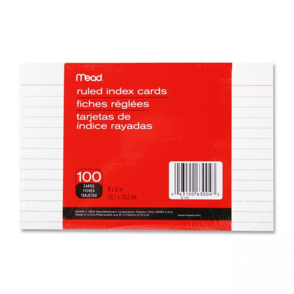 "Mead 4"" x 6"" Ruled Index Cards"