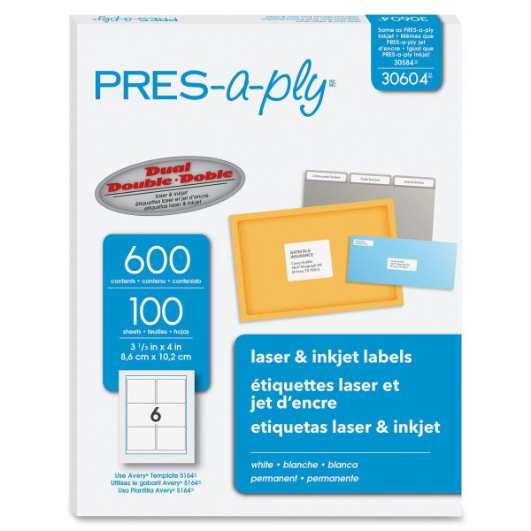 PRES-a-ply Laser Shipping Labels, 3 1/3 x 4, White, 600/Box