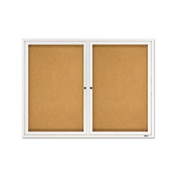 Quartet Enclosed Bulletin Board, Natural Cork/Fiberboard, 48 x 36, Silver Aluminum Frame