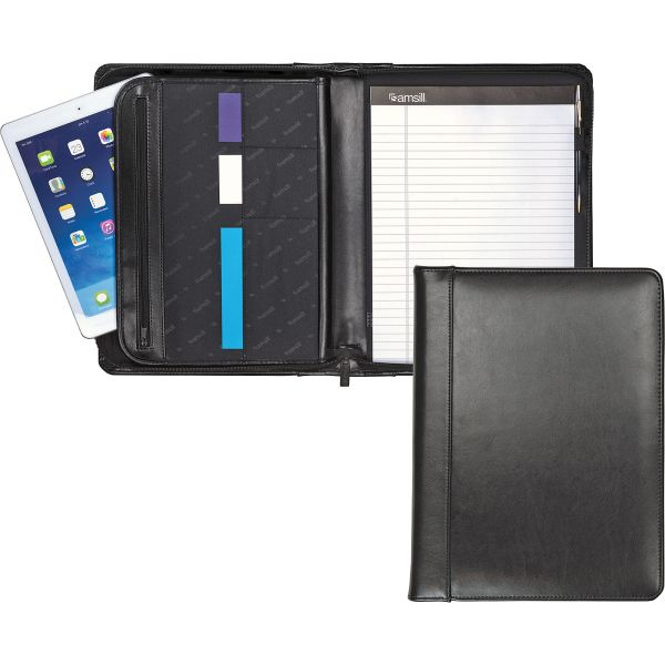 Samsill Regal Leather Zippered Pad Folio