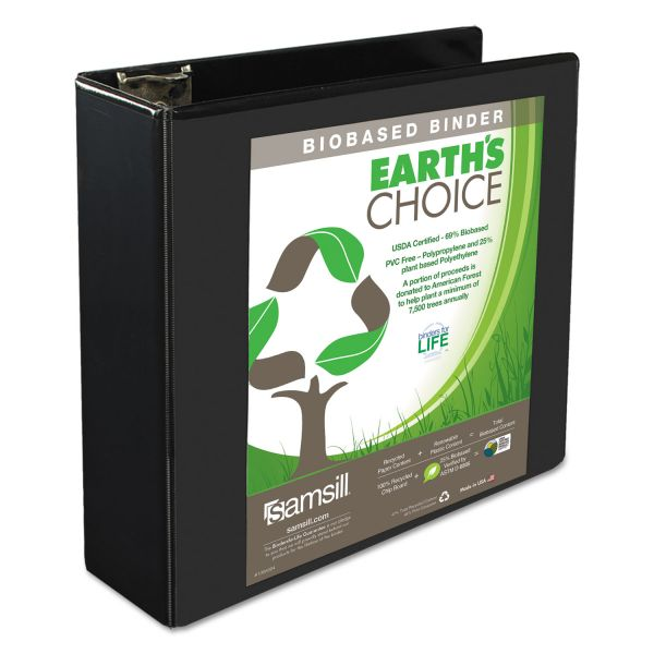 "Samsill Earth's Choice Biobased 3-Ring View Binder, 3"" Capacity, D-Ring, Black"