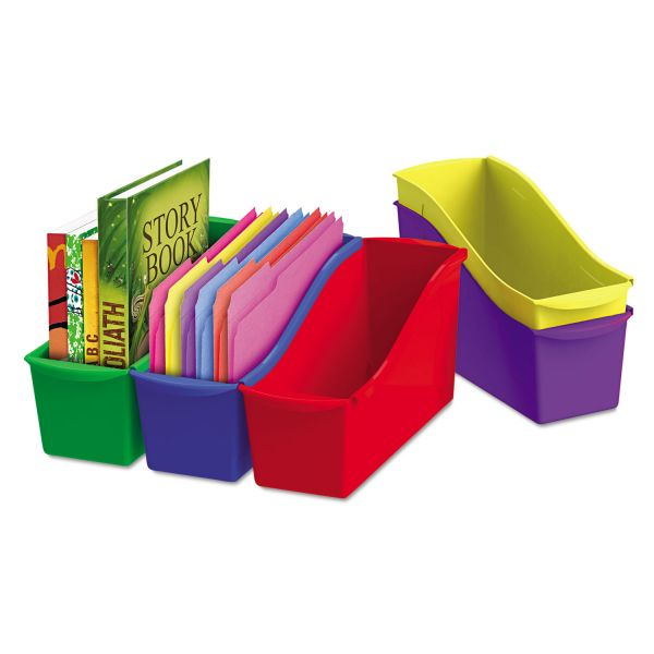 Storex Interlocking Book Bins, 4 3/4 x 12 5/8 x 7, 5 Color Set, Plastic