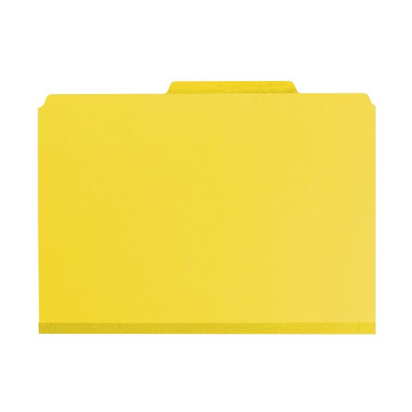 Smead Yellow Pressboard Classification Folders with SafeSHIELD Fasteners