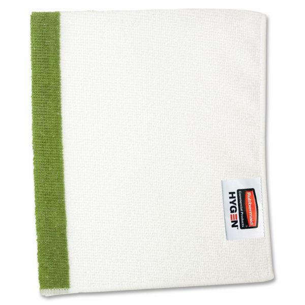 Rubbermaid Commercial HYGEN HYGEN Sanitizer Safe Microfiber Cloth, 16 x 19, White/Green, 288/Carton