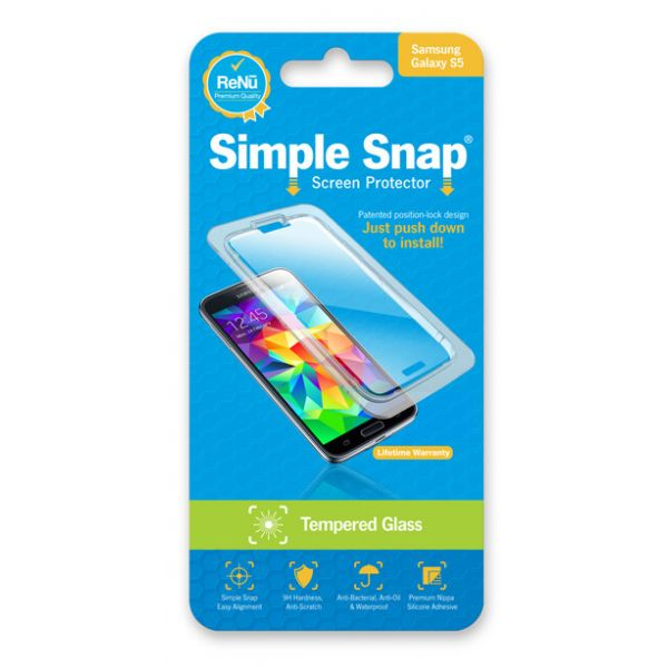 ReVamp Simple Snap Screen Protector (Samsung Galaxy S5) (Tempered Glass) Transparent