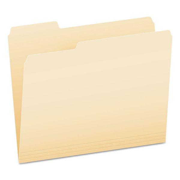 Pendaflex Smart Shield File Folders, 1/3 Cut End Tab, Letter, Manila, 100/Box