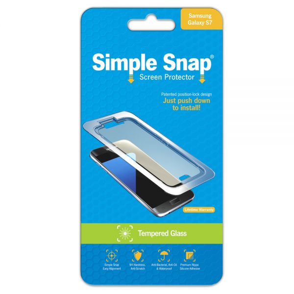 ReVamp Simple Snap Screen Protector (Samsung Galaxy S7) (Tempered Glass) Transparent