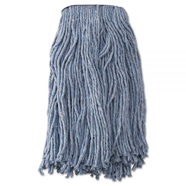 Boardwalk Mop Head, Standard Head, Cotton/Synthetic Fiber, Cut-End, #20, Blue, 12/Carton