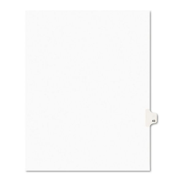 Avery Avery-Style Legal Exhibit Side Tab Divider, Title: 43, Letter, White, 25/Pack
