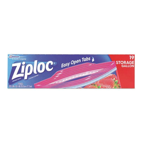 Ziploc Double Zipper Storage Bags, 9 3/5 x 12 1/10, 1gal, 1.75mil, Clear, 19/BX,12BX/CT