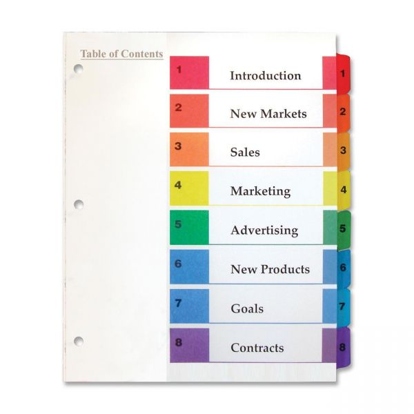 Kleer-Fax Index 8-Tab Numbered Dividers With Table Of Contents Page