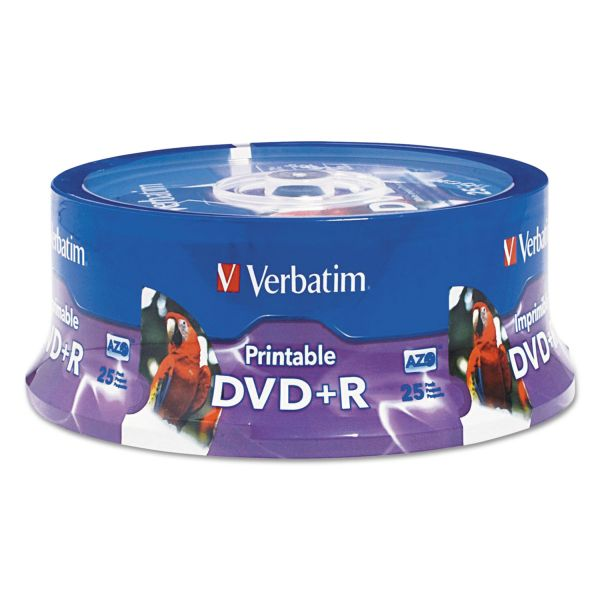 Verbatim DVD+R, 4.7GB, 16X, White Inkjet Printable, Hub Printable, 25/PK Spindle