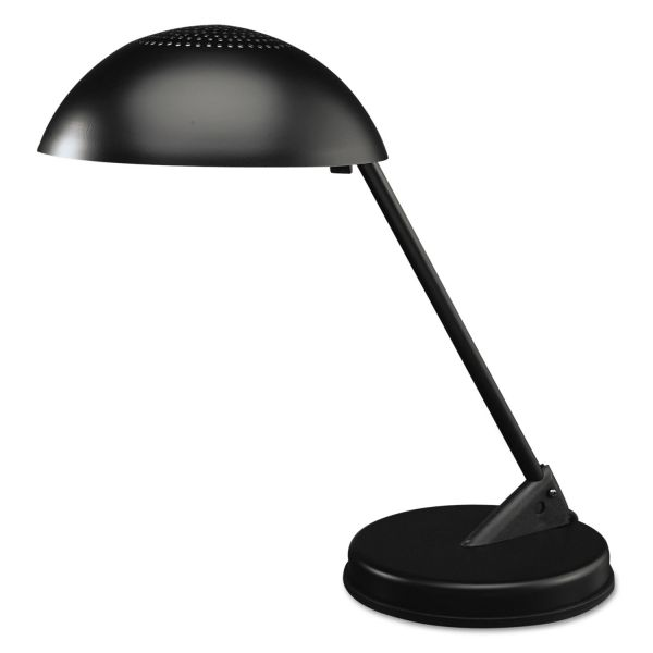 "Ledu Incandescent Desk Lamp with Vented Dome Shade, 18"" Reach, Matte Black"