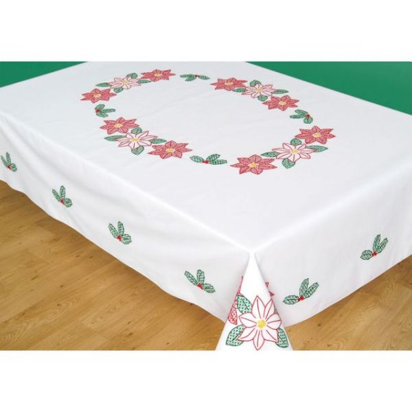 Jack Dempsey Stamped White Tablecloth