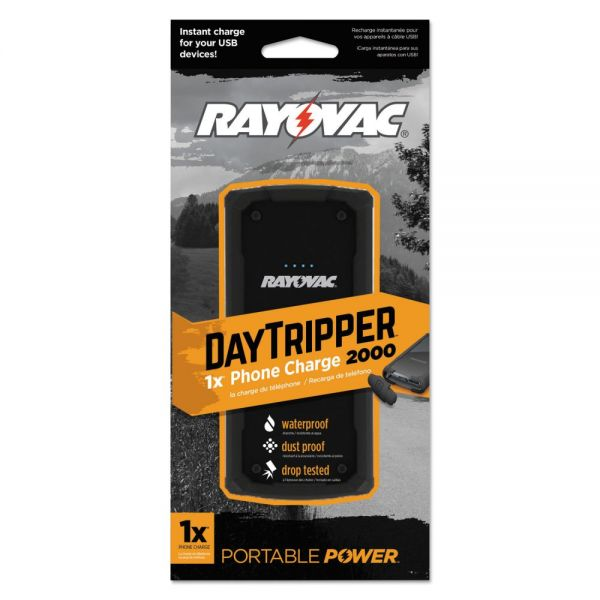 Rayovac DayTripper 2000 Phone Charger, 2000 mAh, USB, Black