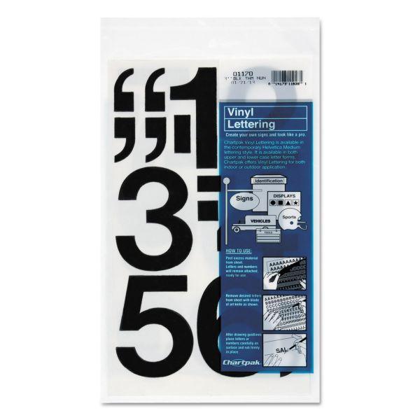 "Chartpak Press-On Vinyl Numbers, Self Adhesive, Black, 3""h, 10/Pack"