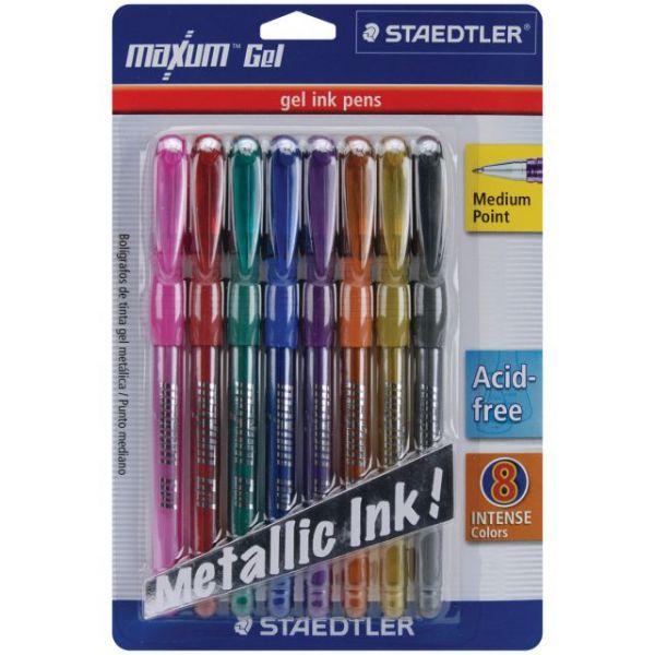 Maxum Gel Metallic Pens Medium Point .8mm 8/Pkg