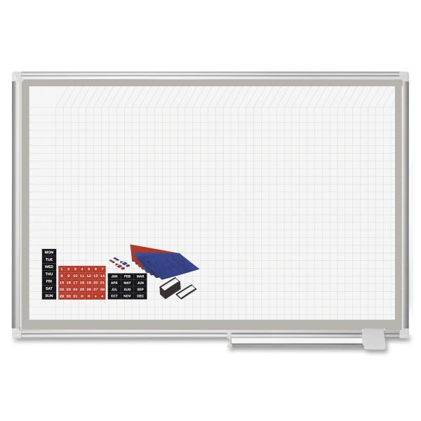 MasterVision All Purpose Porcelain Dry Erase Planning Board, 1x2 Grid, 48x36, Aluminum Frame