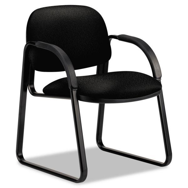 HON Sensible Seating Series Guest Arm Chair, Tectonic Fabric, Black