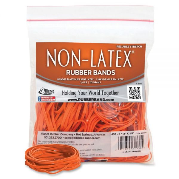 Alliance Latex-Free Orange Rubber Bands, Size 33, 3-1/2 x 1/8, 180 per 1/4 lb Bag